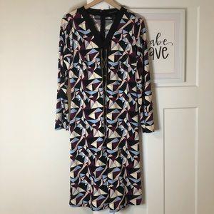 Ashley Stewart Geometric Chain Lace Up Dress